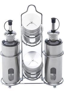 Jogo De Porta Galheteiro Pointer- Inox & Incolor- 4Pbon Gourmet