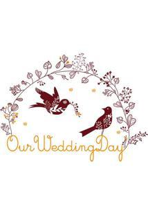 Adesivo De Parede Our Wedding Day- Vermelho Escuro & Amaevolux