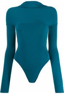 Alexandre Vauthier Body Slim Com Abertura Posterior - Azul
