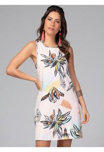Vestido Curto Floral Rosê Sem Mangas