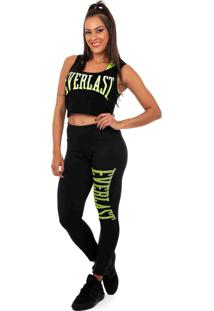 Regata Crooped Everlast Silk Everlast Listrado Em Neon Metalizado-Gg