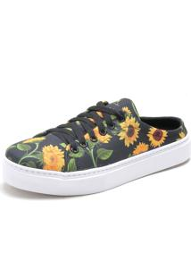 Mule Sapatãªnis Sapatilha Urbana Feminina Confort - Amarelo/Floral/Preto/Verde - Feminino - Tãªxtil - Dafiti