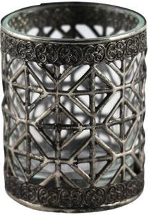 Castiçal De Vidro E Metal Decorando Com Classe Prata 6Cm Prata Velha