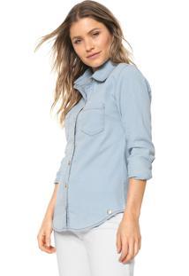 Camisa Jeans Lunender Reta Azul