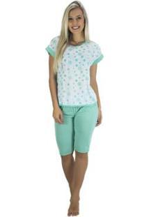 4f61c19e4fe1f9 Pijama Mvb Modas Pescador Blusinha E Calça Curta Feminino - Feminino-Verde