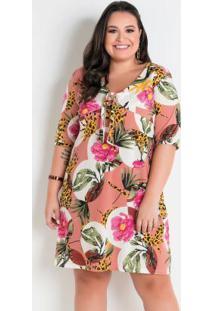 Vestido Floral Amplo Com Amarração Plus Size