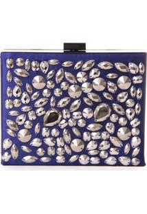Clutch Real Arte Com Pedrarias Azul