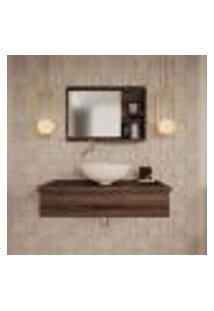 Conjunto Para Banheiro Bancada Com Cuba R35 Redonda E Espelheira City 801 Nogal