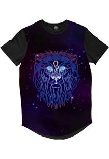 Camiseta Longline Bsc Signos Ilustração Leão Sublimada Roxo Brilho