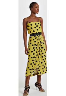Vestido De Viscose Midi Estampa Pois Ono Amarelo Saia Transpasse Est Pois Ono Amarelo ¨ - 36