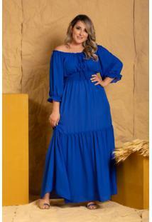 Vestido Ciganinha Ayla Manga 7/8 Azul Royal Plus Size