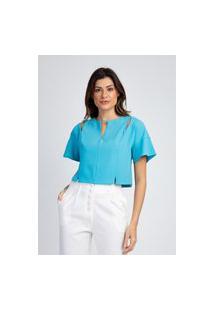 Blusa De Crepe Divni Vazados Azul
