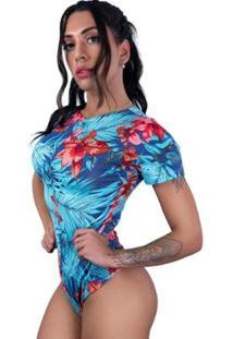 Body Cavado Manga Curta Estampado Blusa Collant Feminino - Feminino