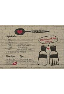 """Tapete """"Recipe For Love""""- Bege & Preto- 60X40Cm-Tapetes Junior"""
