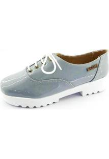 Oxford Quality Shoes Tratorado Verniz Feminino - Feminino-Cinza