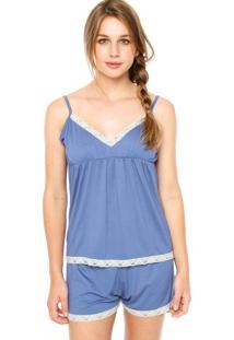 Short-Doll Lupo Renda Azul