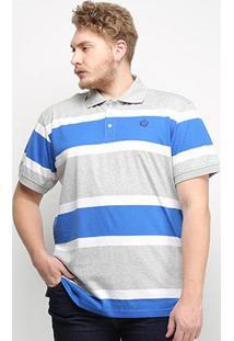 Camisa Polo Listrada Gajang Euro Finland Plus Size Masculina - Masculino-Azul