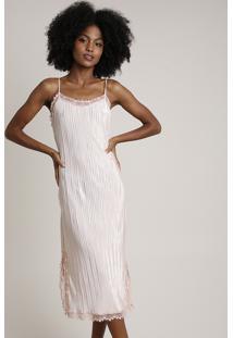 Vestido Slip Dress Feminino Mindset Midi Acetinado Plissado Com Renda Alças Finas Rosê