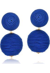 Brinco Le Diamond Amandita Em Tecido Azul
