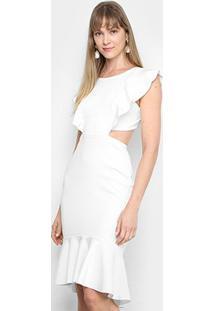 Vestido Mercatto Midi Babados Recortes - Feminino-Off White