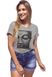 Camiseta Joss Premium Mescla Face Buda Feminina - Feminino-Cinza