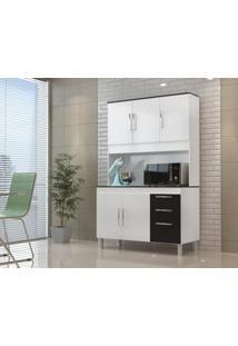 Cozinha Compacta Gemeos 1,14M 5 Portas 3 Gav. Branco Preto - Branco - Dafiti