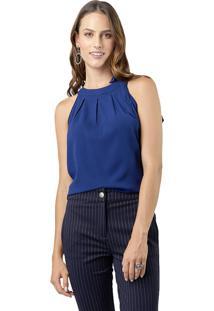 Blusa Crepe Mx Fashion Laço Eloah Azul Marinho