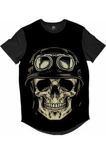 Camiseta Bsc Longline Caveira Capacete Motoqueiro 64 Sublimada Preta