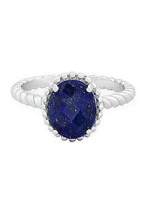 Anel Com Lã¡Pis Lazuli Banhado Á Rã³Dio- Prata & Azul Marivivara