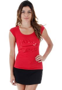 Camiseta Com Paetês Feminina Tigs - Vermelho