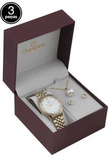 Kit 3Pçs Relógio Champion Cn25790F Dourado