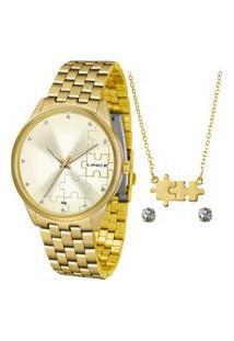 Kit De Relógio Analógico Lince Feminino + Brinco + Colar - Lrgh091L Kv65C1Kx Dourado