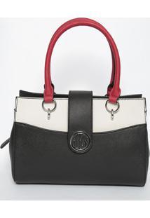 Bolsa Texturizada- Preta & Branca- 22X30X11Cm- Gguess