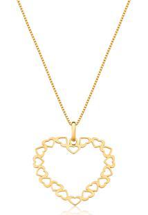 Pingente De Ouro 18K Coração Vazado De Corações