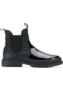 Liu Jo Ankle Boot Envernizado Com Salto Baixo - Preto