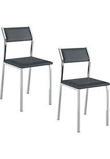 Kit Com 2 Cadeiras Sofia Cromada Napa Jeans - Carraro