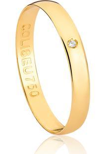 Aliança De Ouro 18K Reta Abaulada Com Diamante (3,10Mm)
