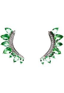 Brinco Ear Cuff Quartzo Esmeralda Em Prata 925 - Tricae