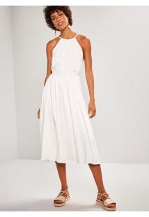 Vestido Midi Faixa Bordada Branco
