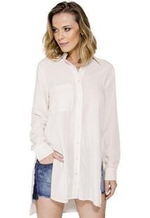 Camisa Básica Com Fenda Handbook - Feminino-Bege