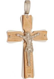 Pingente Crucifixo Grande De Aço Inox Rosê