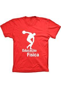 Camiseta Baby Look Lu Geek Educação Física Vermelho