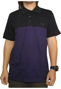 Camiseta Polo Hocks Peter Preto/Roxo