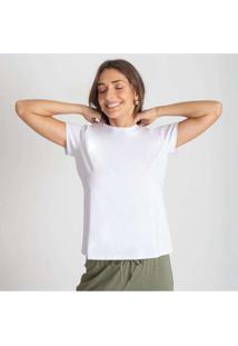 Camiseta Reta Feminina Gola C Anti Odor Branco