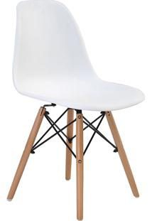Cadeira Eiffel Sem Braço Branca Base Madeira Rivatti Móveis