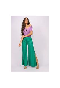 Calça Pantalona Viscose Amazonia Vital Com Fenda Verde Light