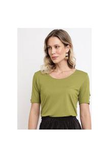Blusa Feminina Com Botões Na Manga Curta Decote Redondo Verde