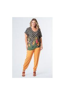 Blusa Malha Estampada Cajueiro Plus Size Marinho