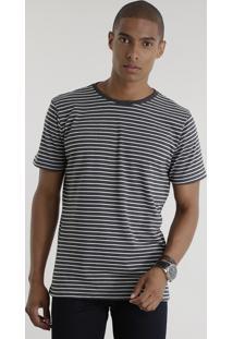 Camiseta Básica Listrada Cinza Mescla