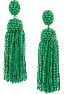 Oscar De La Renta Tassel Beaded Earrings - Green